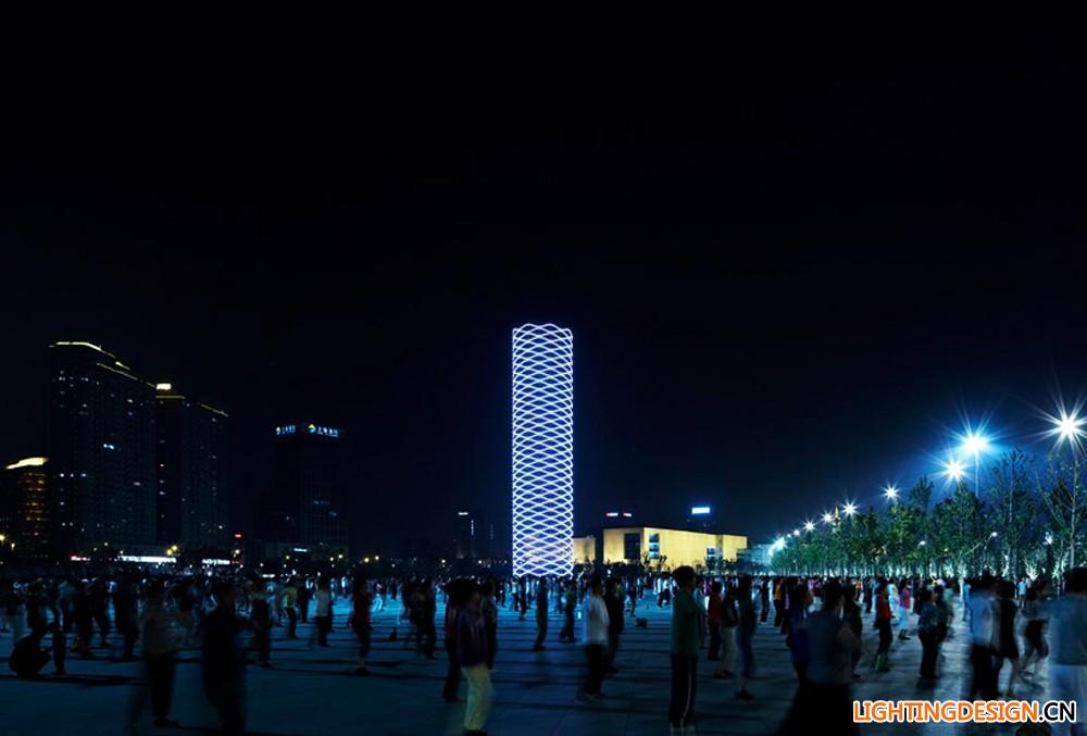 首页 案例 室外设计 图片展示  7 19 建筑环境--天津圆塔灯光夜景图片